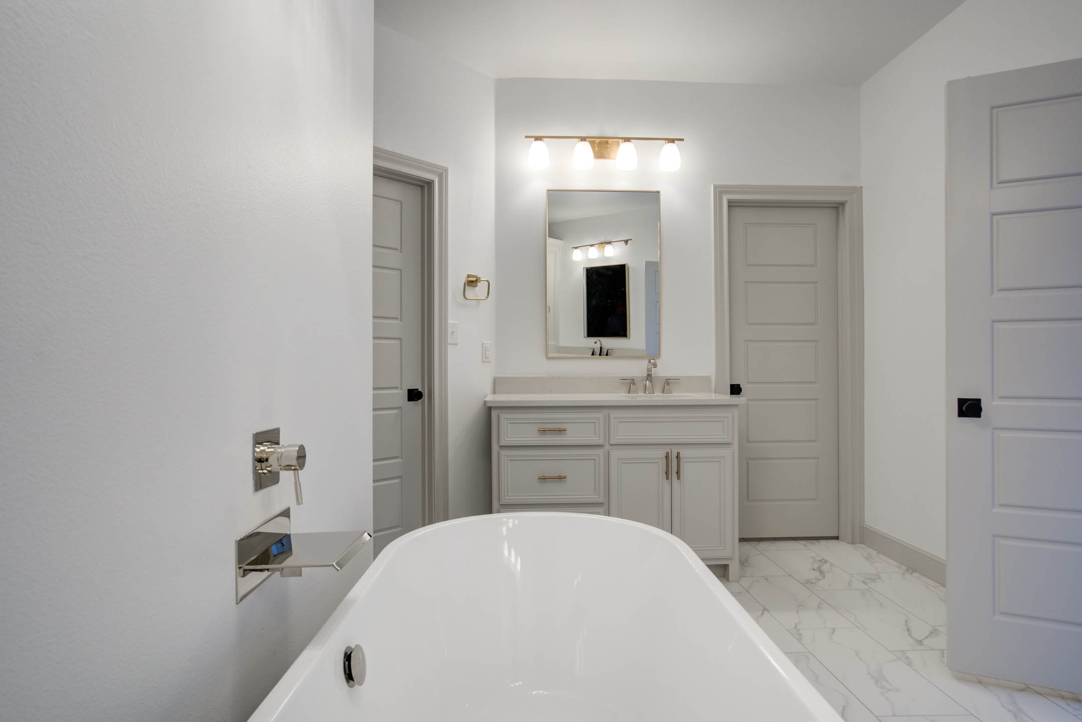 View over bathtub of master bath in beautiful home near Lubbock.