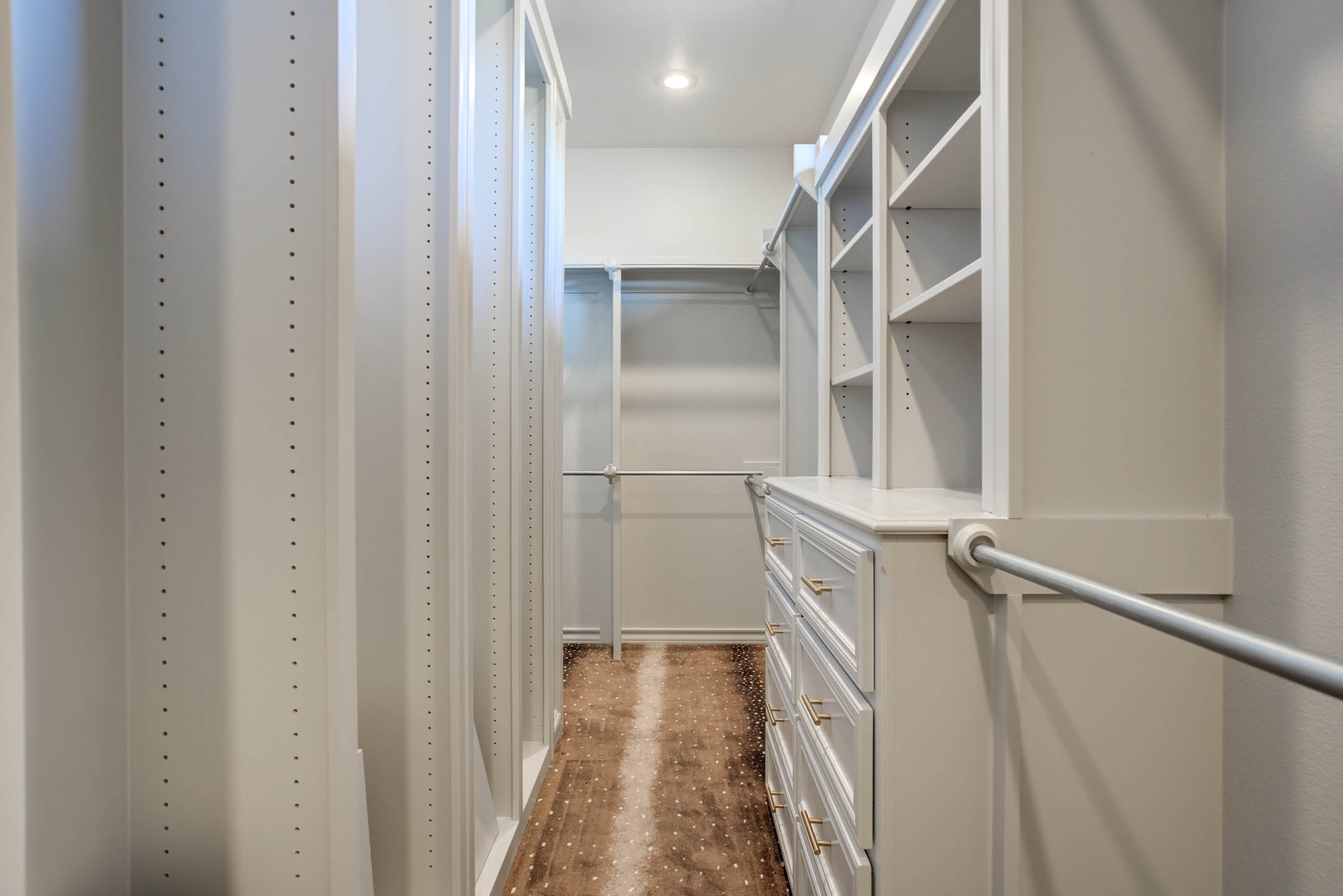 Spacious master closet in new home for sale near Lubbock, Texas.