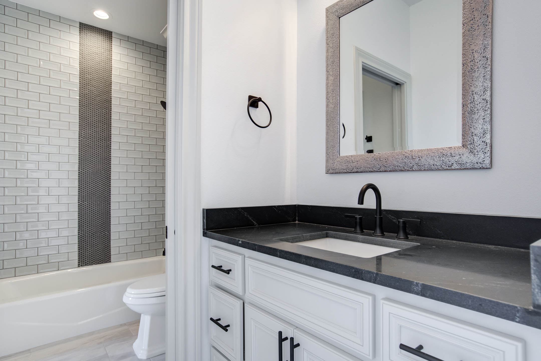 Vanity in bath of new home for sale near Lubbock.