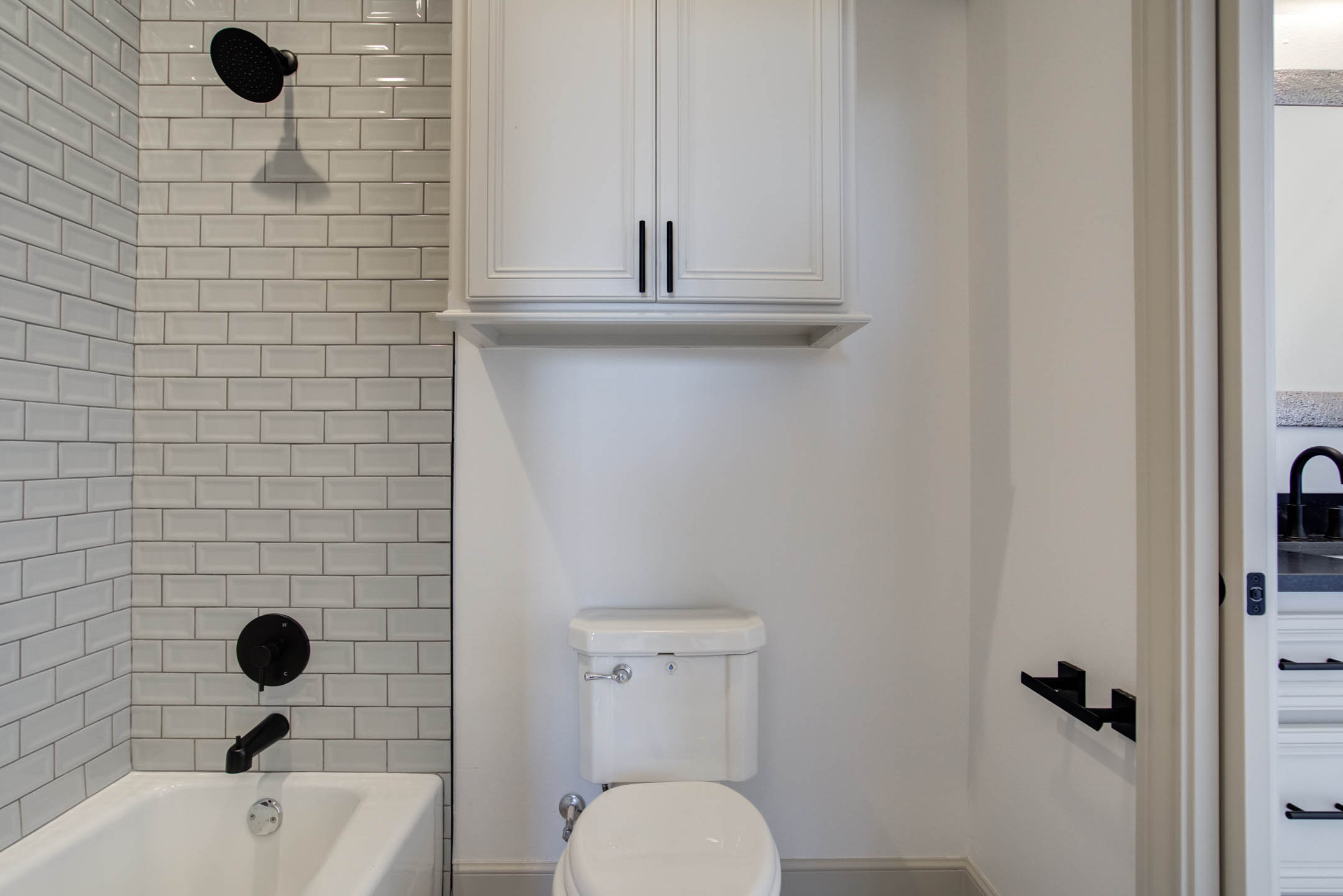 Guest bath in beautiful new home for sale near Lubbock, Texas.