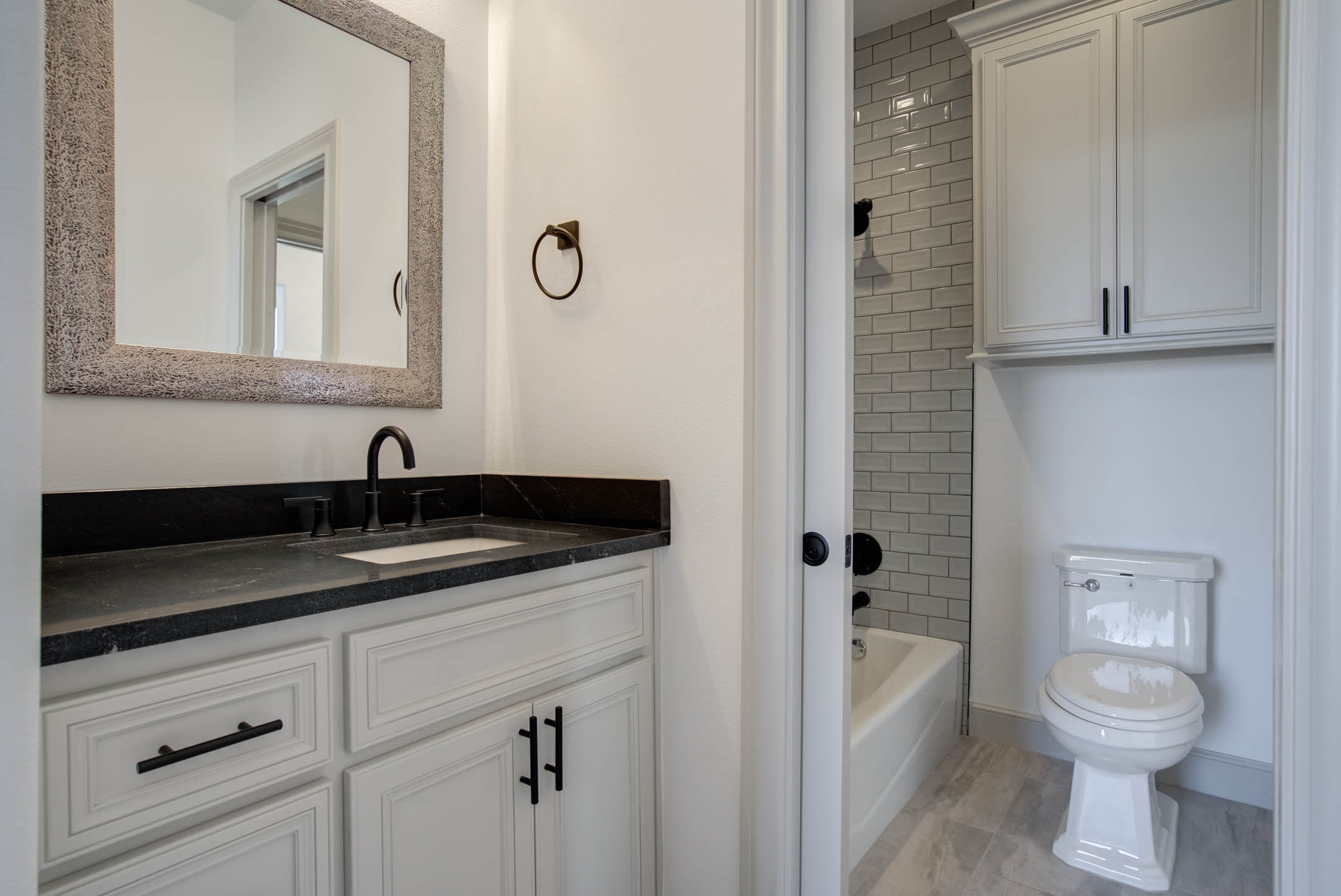 Guest bath in beautiful new home for sale near Lubbock.