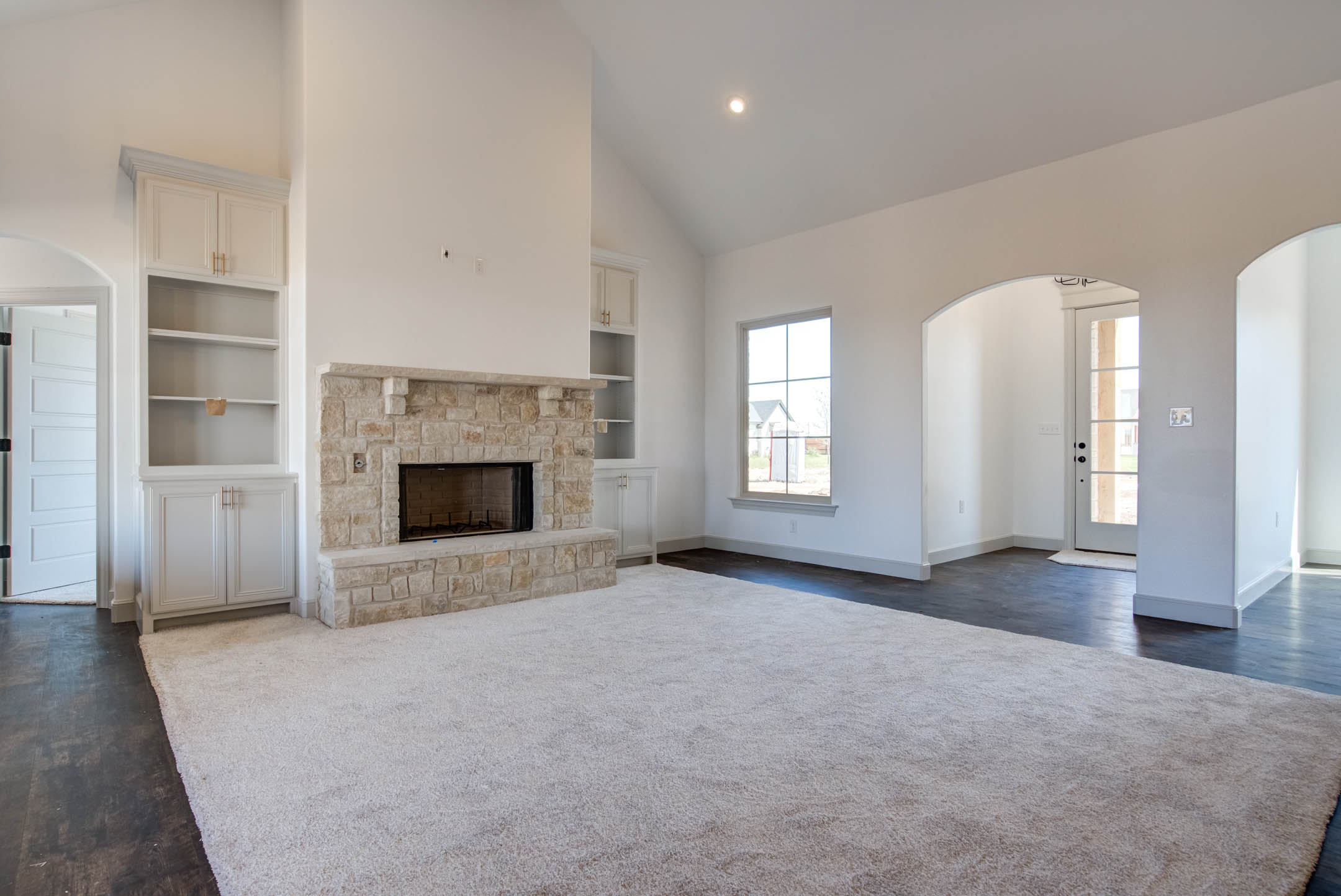 Spacious living area in new home for sale near Lubbock, Texas.