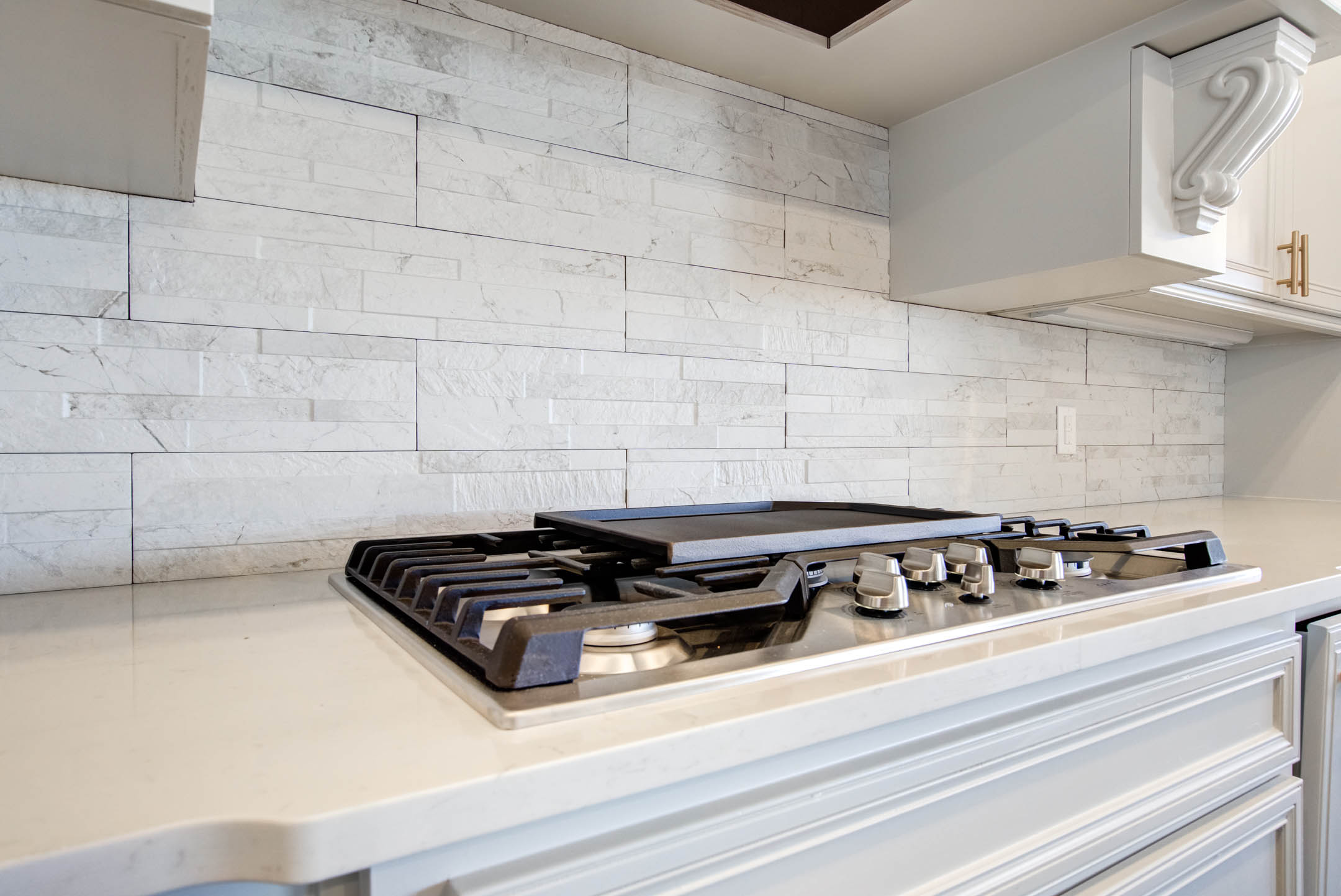 Kitchen stove area in new house for sale near Lubbock.
