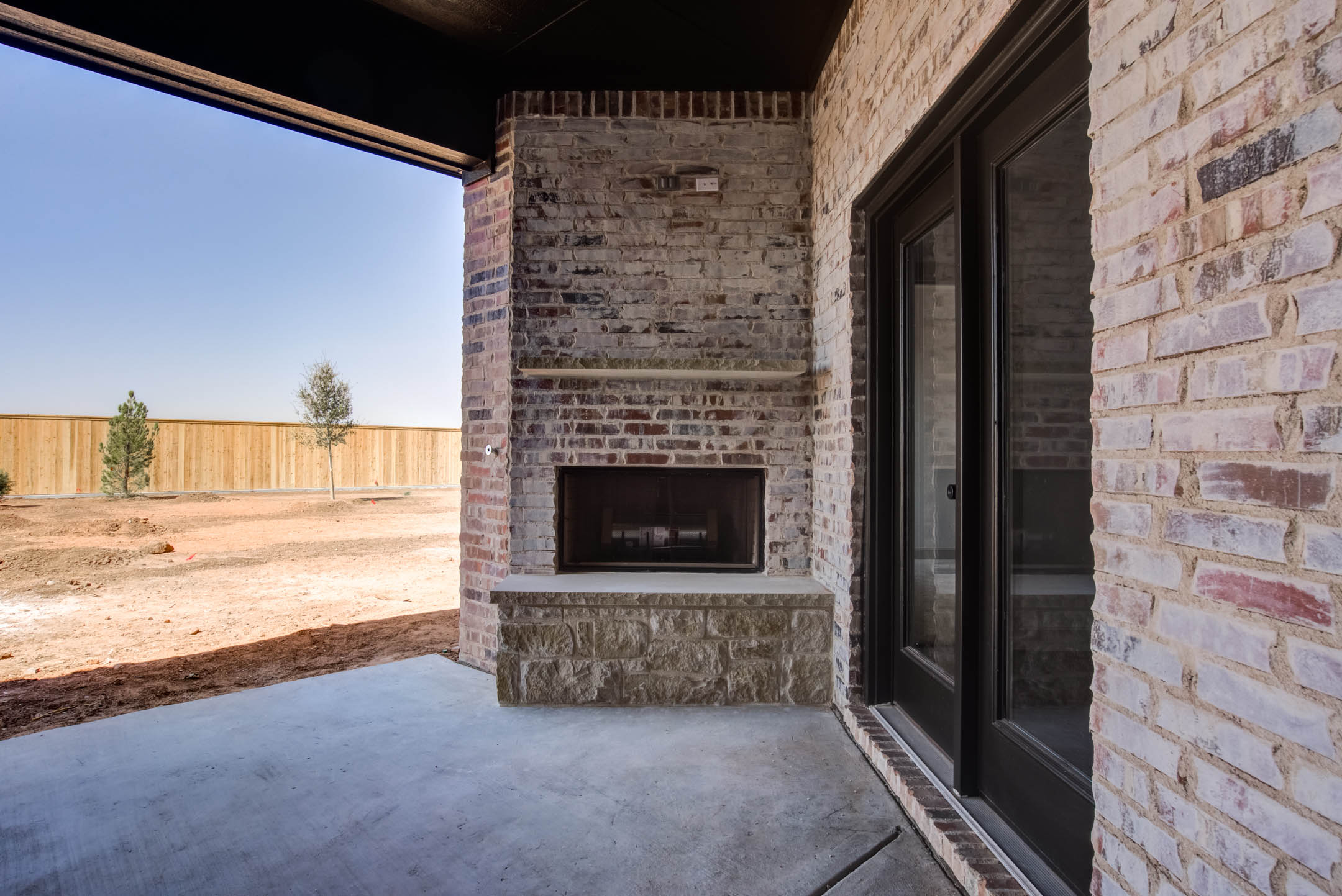 Spacious outdoor patio of new home for sale near Lubbock, Texas.