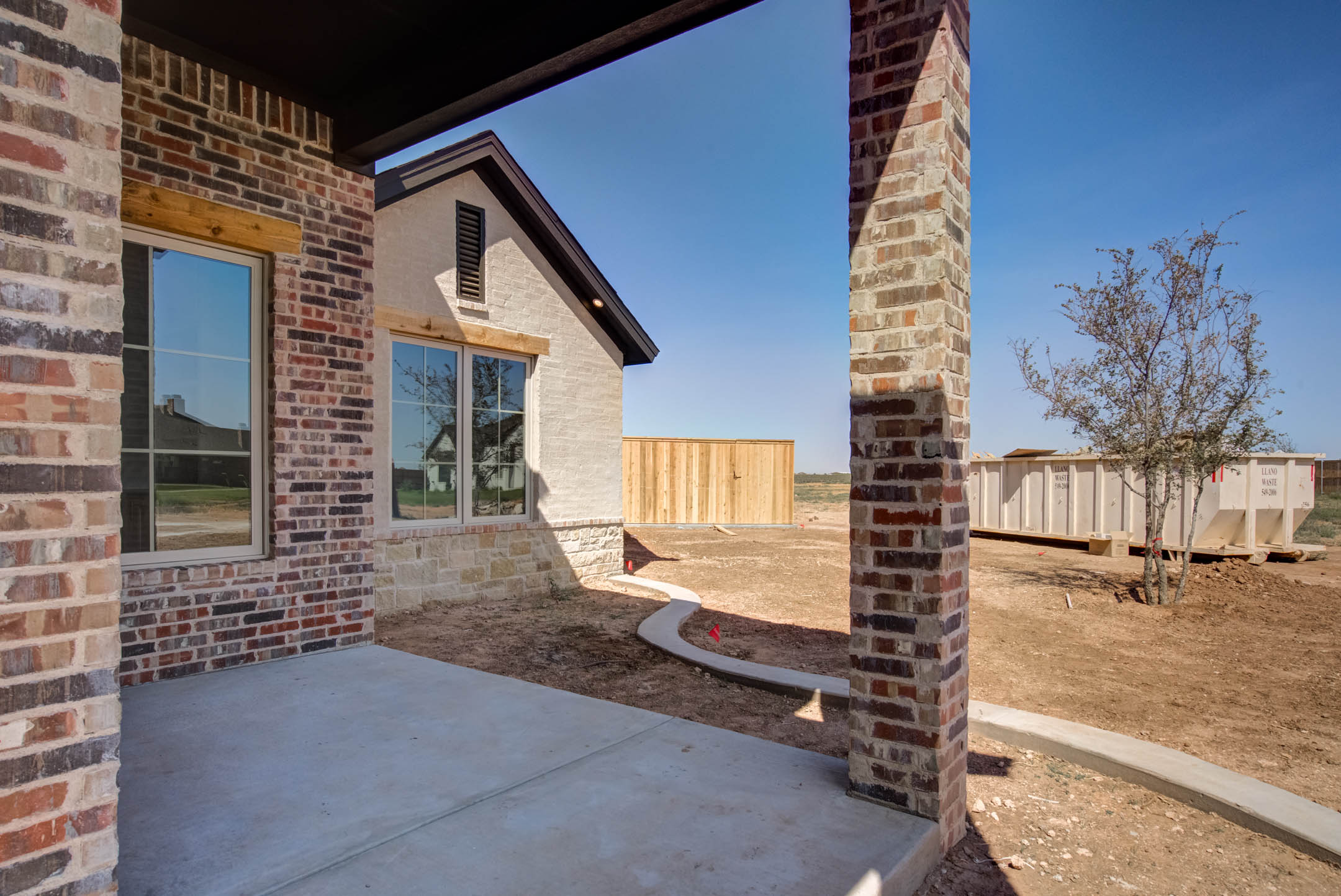 Exterior of beautiful house front porch, for sale in New Home, Texas.