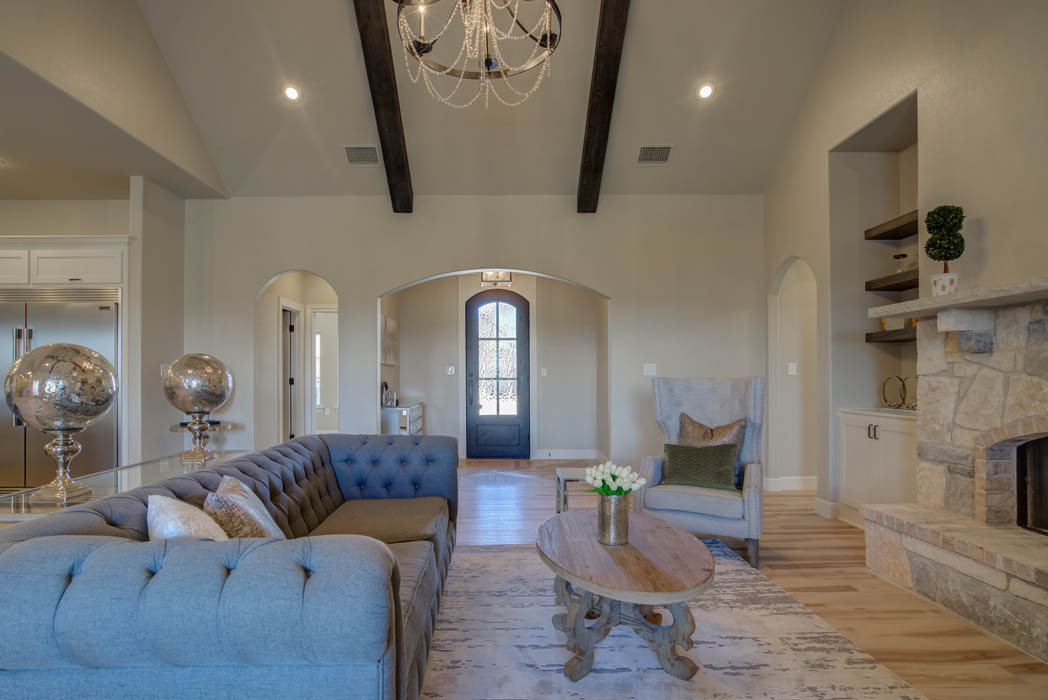 Spacious living area in Lubbock, Texas home with custom entry.