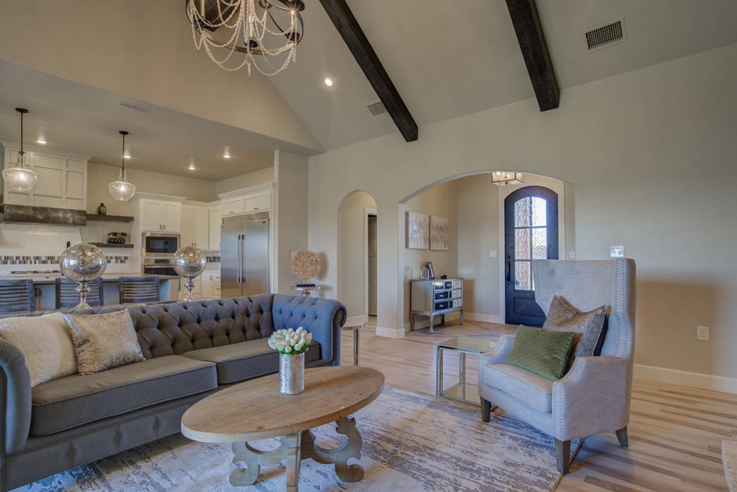 Spacious open-concept floor plan in new home in Lubbock, Texas.