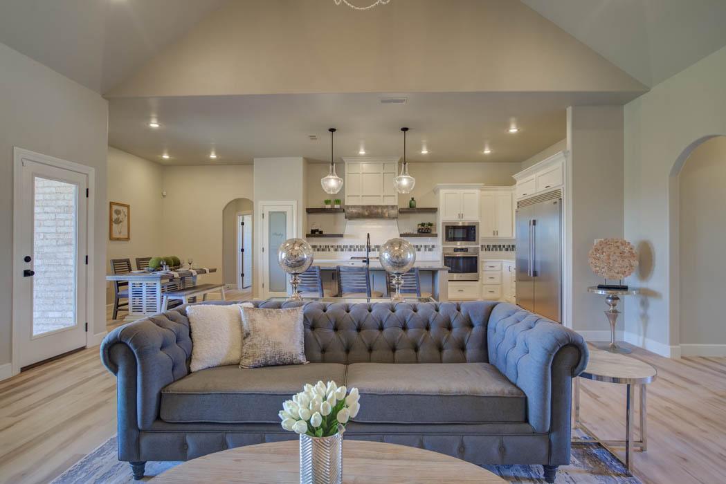 Spacious open-concept floor plan in new home in Lubbock, Texas.