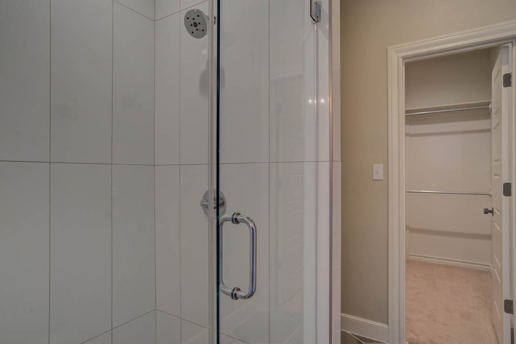 Shower in master bath of Lubbock, Texas home.
