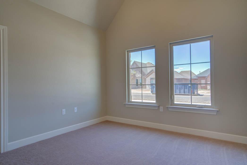 Bedroom in new home in Lubbock, Texas.
