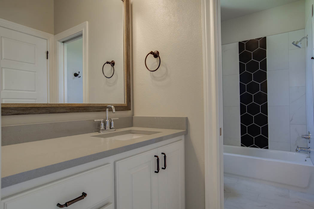 Beautiful guest bath in new home in Lubbock, Texas.