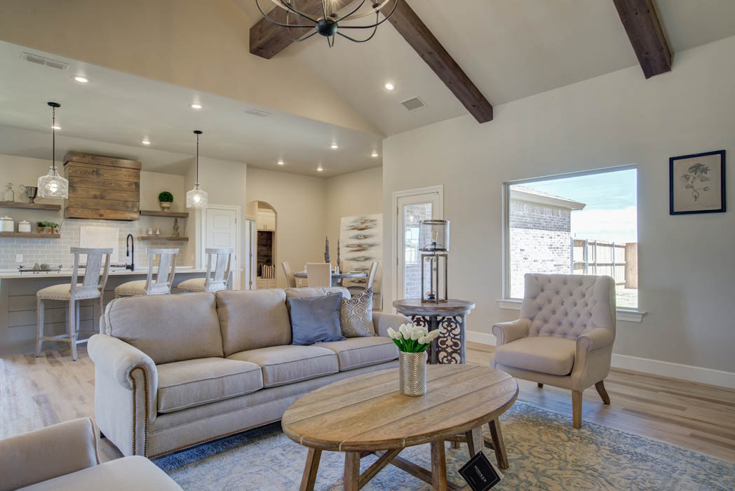 Spacious open-concept floor plan in new home in Wolfforth, Texas.