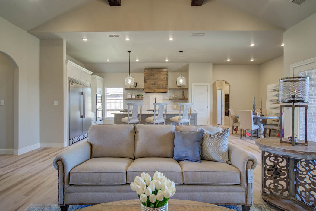 Living area in gorgeous new home in Wolfforth, Texas.