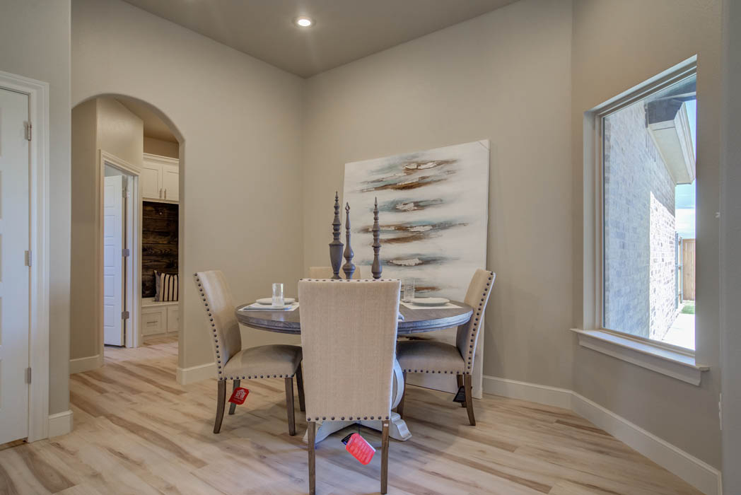 Beautiful dining room in new home for sale in Wolfforth, Texas.