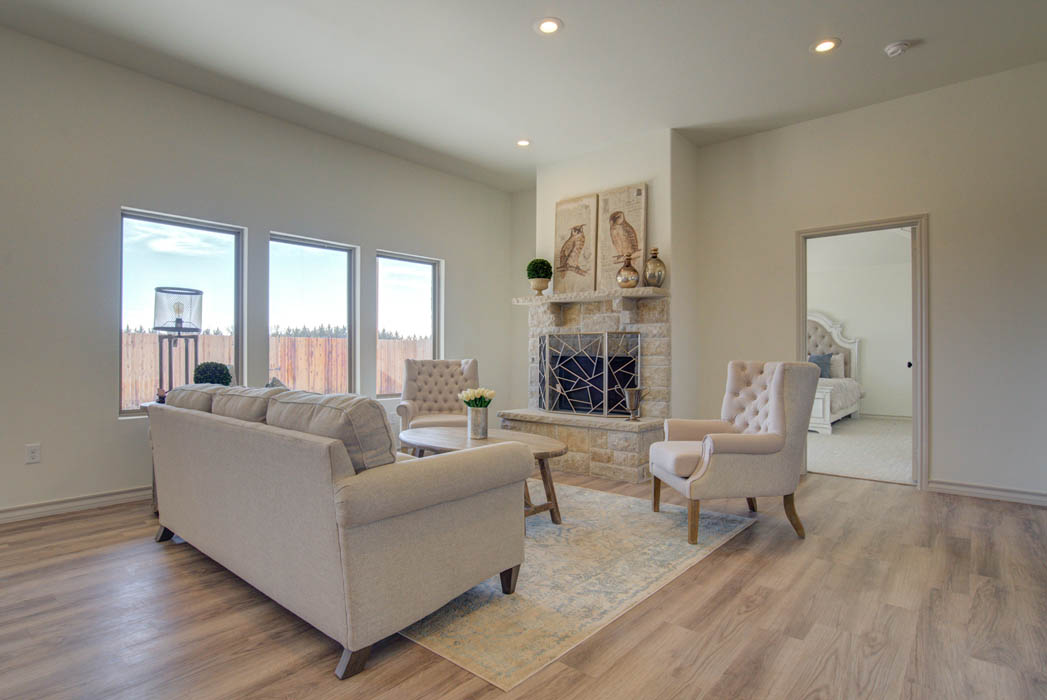 Beautiful living area in Lubbock, Texas new home for sale.