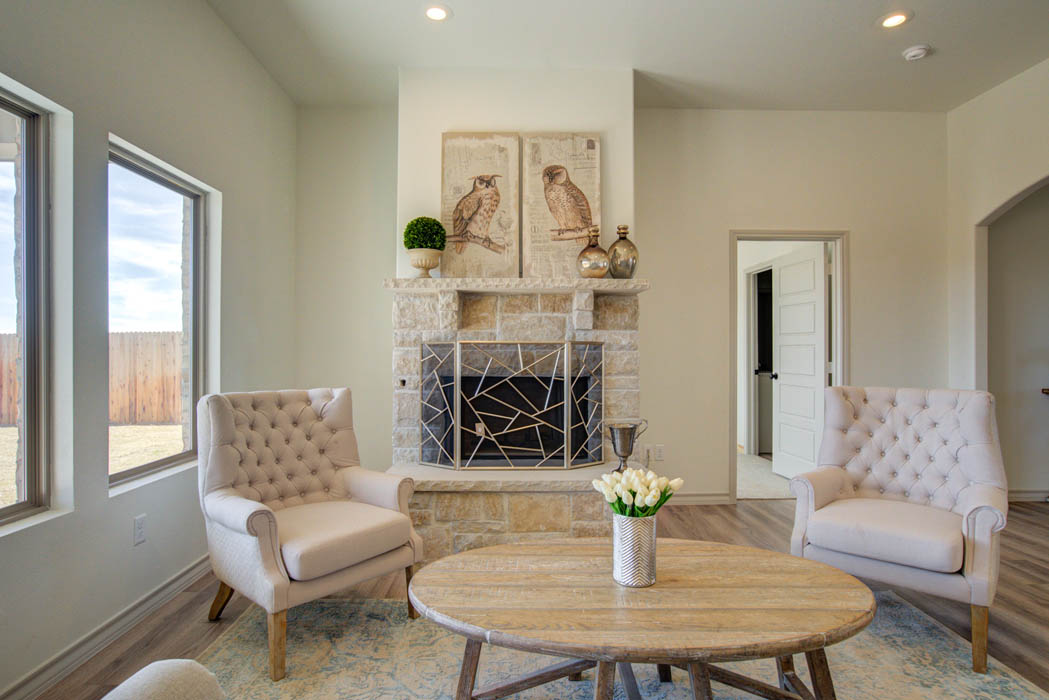 Beautiful fireplace in new home for sale in Lubbock, Texas.