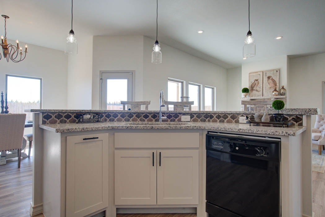 Close view of kitchen island in beautiful new home for sale in Lubbock, Texas.