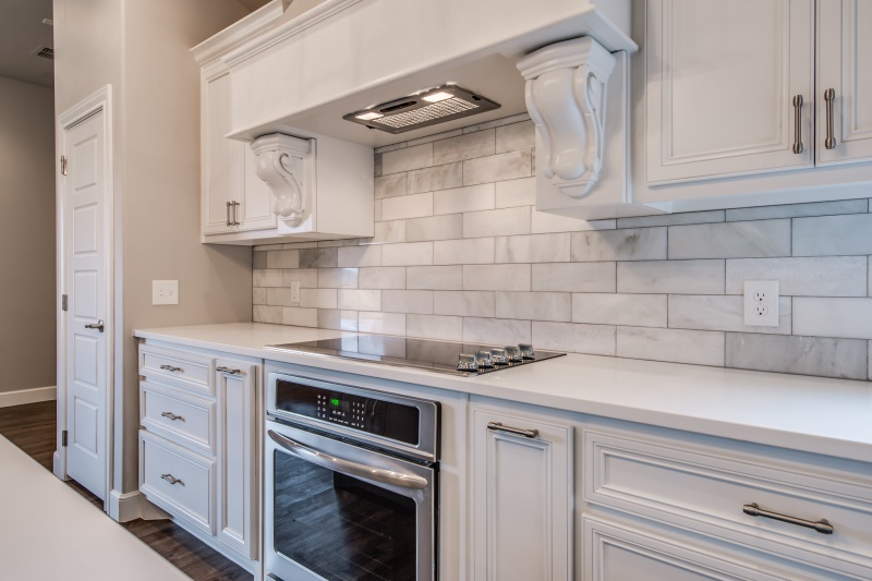 Stove detail in beautiful custom home kitchen in West Texas.