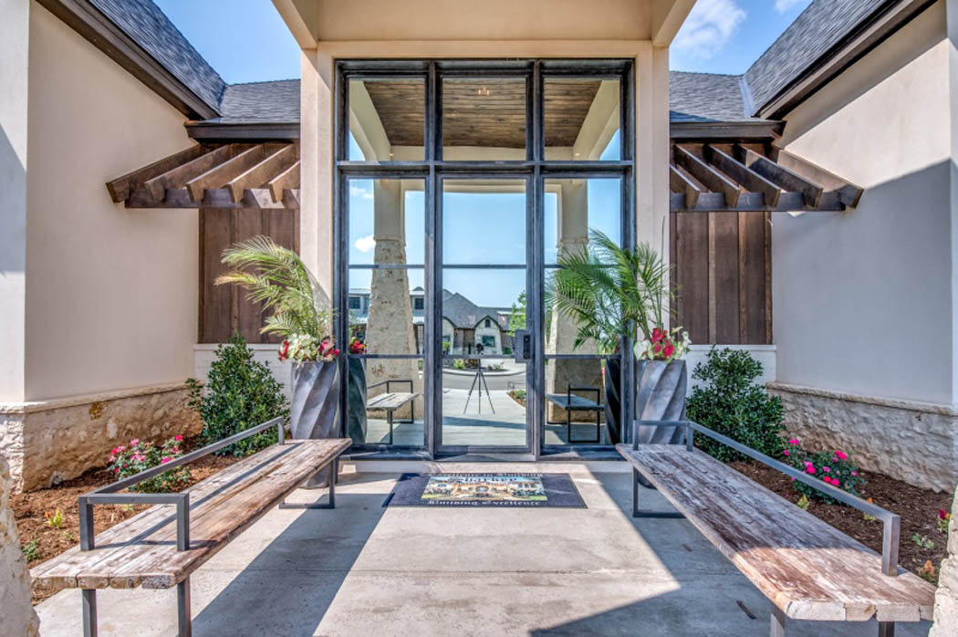 Beautiful exterior entry of custom home in Lubbock, Texas.
