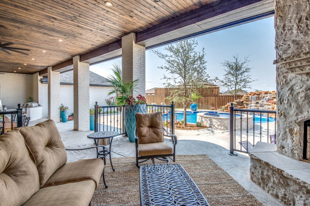 Comfortable patio area in custom home in Lubbock, Texas.
