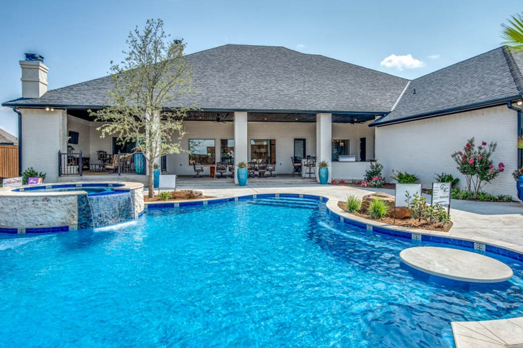 Pool and patio in custom home in Lubbock, Texas.