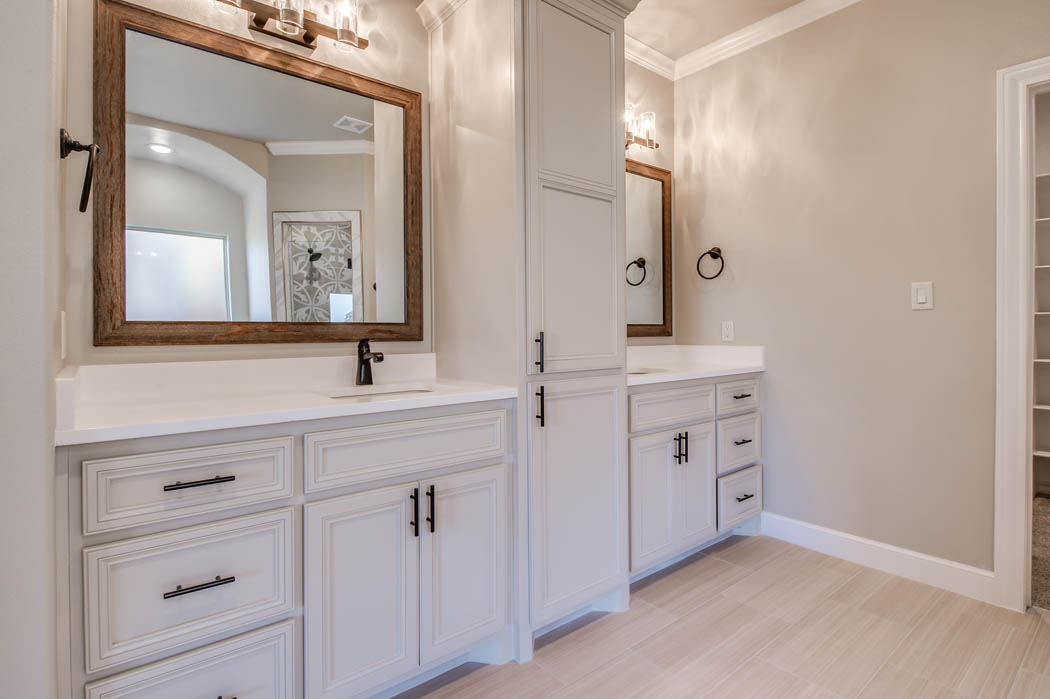 Spacious master bath in custom home.