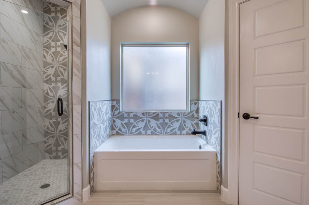 Detail of master bath in house by Sharkey Custom Homes.