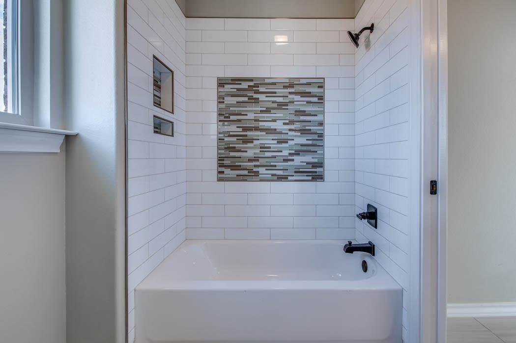 Shower in custom home in Lubbock, Texas.