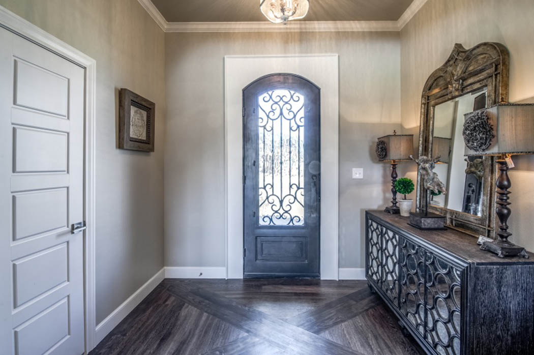 Custom entry treatment in custom home in Lubbock, Texas.