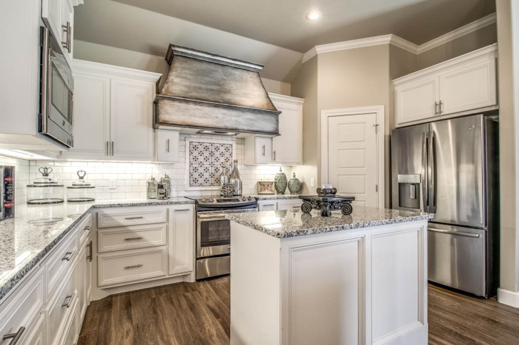Detail of custom kitchen in home.
