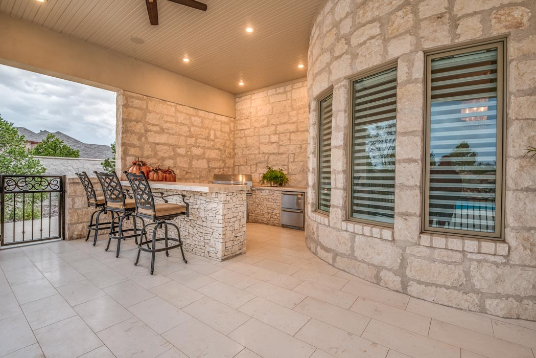 Beautiful outdoor patio in custom home built by Sharkey Custom Homes in Lubbock.
