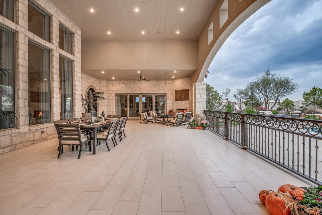 Spacious, beautiful outdoor living area in home built by Sharkey Custom Homes in Lubbock, Texas.