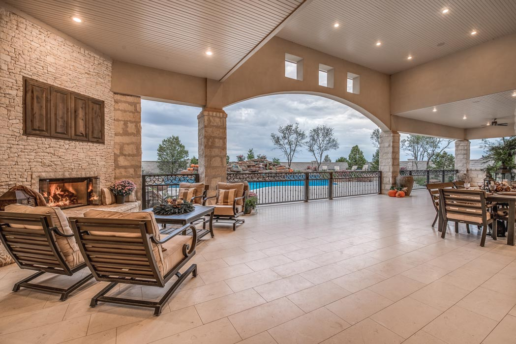 Expansive covered patio area of beautiful custom home in Lubbock.
