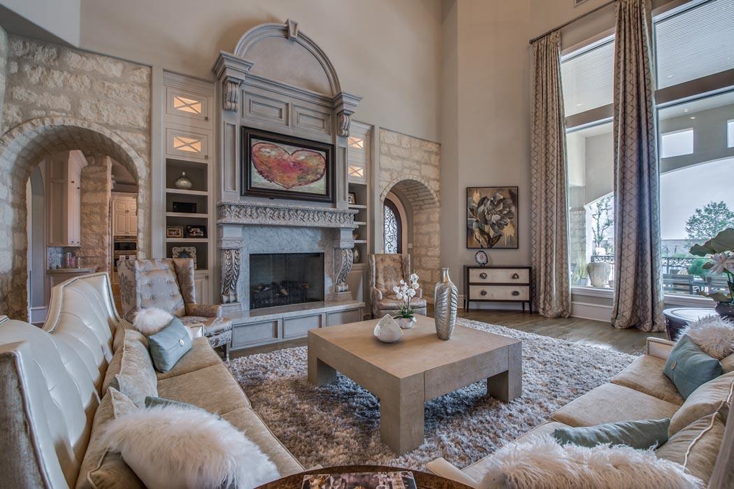 Spacious, beautiful living room in custom home built by Sharkey Custom Homes in Lubbock, Texas.