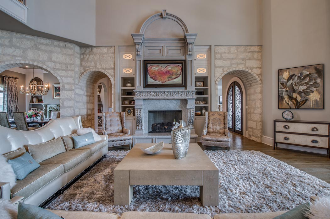 Amazing living area of custom home in the Lubbock, Texas area.
