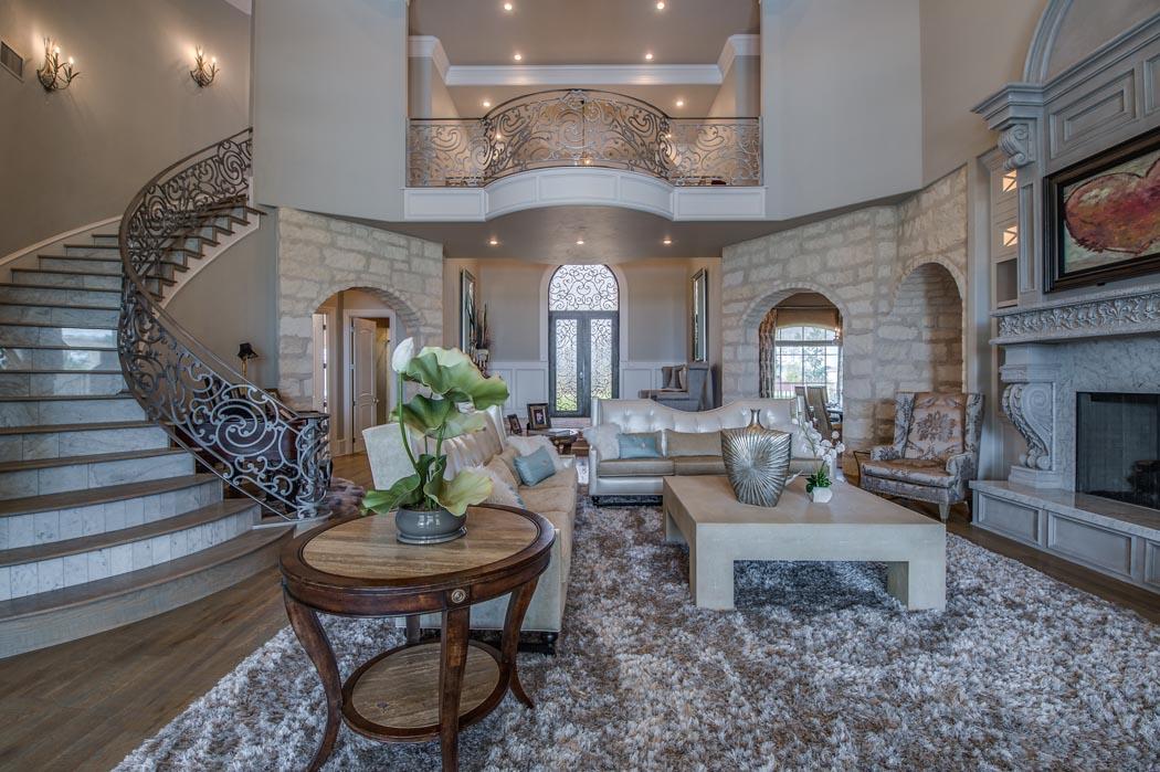 Living area of amazing custom home in Lubbock, Texas.