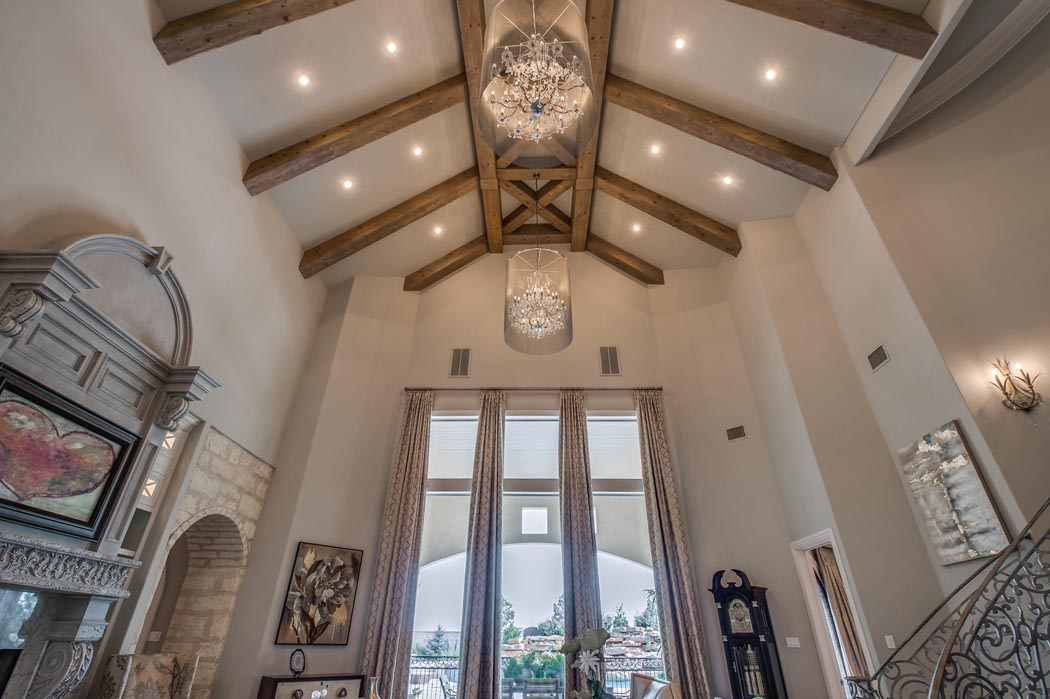 Vaulted ceiling with beam woodwork in amazing custom home, in Lubbock, Texas.