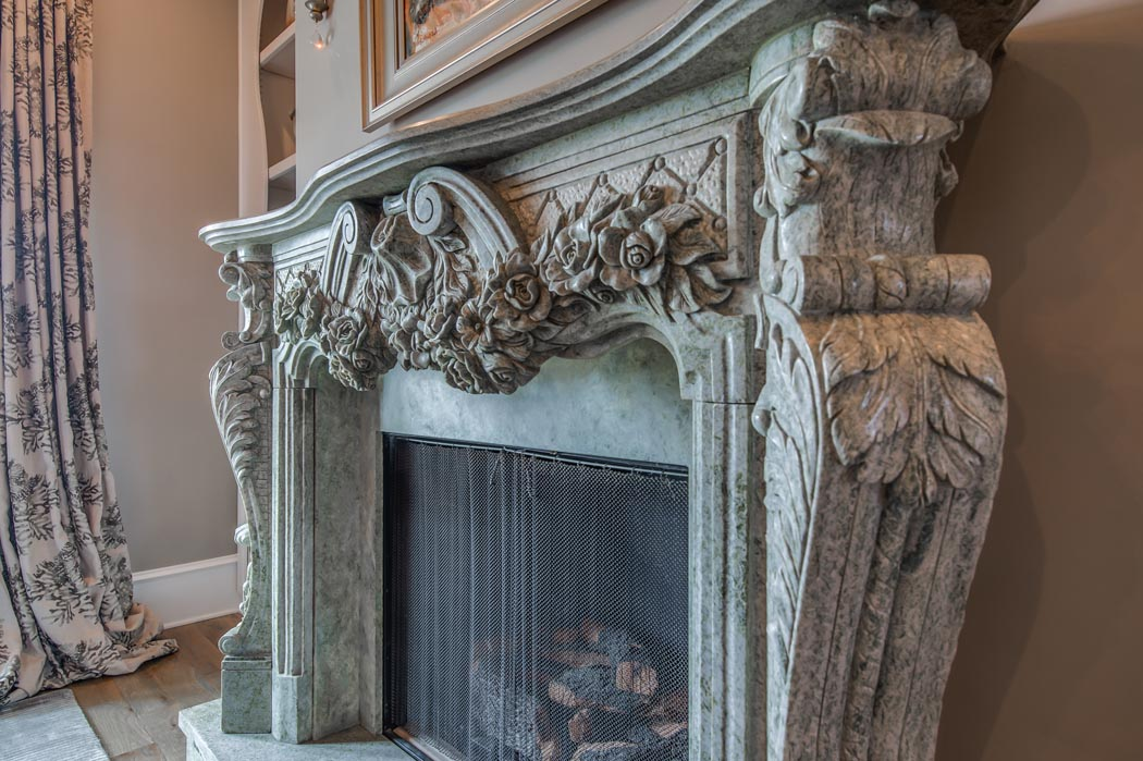 Dining room fireplace in custom home, built in Lubbock, Texas.