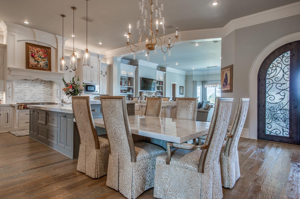 Beautiful dining room in home built by Sharkey Custom Homes in the Lubbock area.