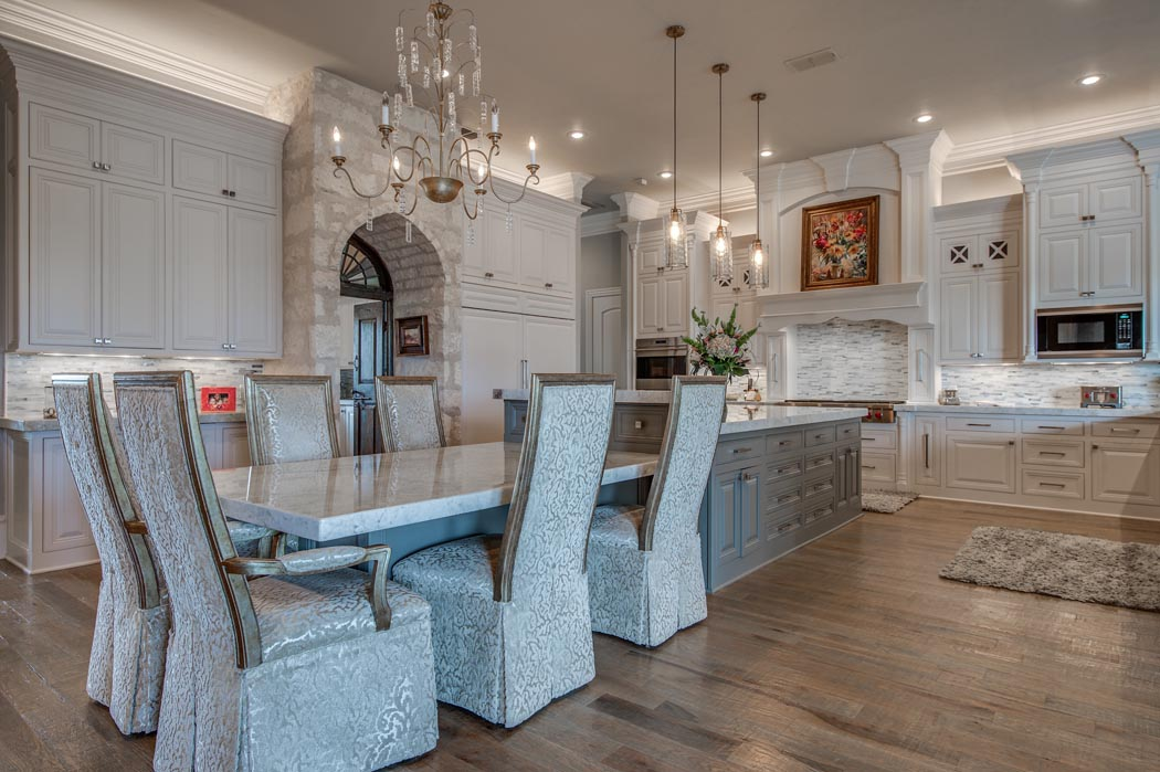 Dining area of custom home in Lubbock.
