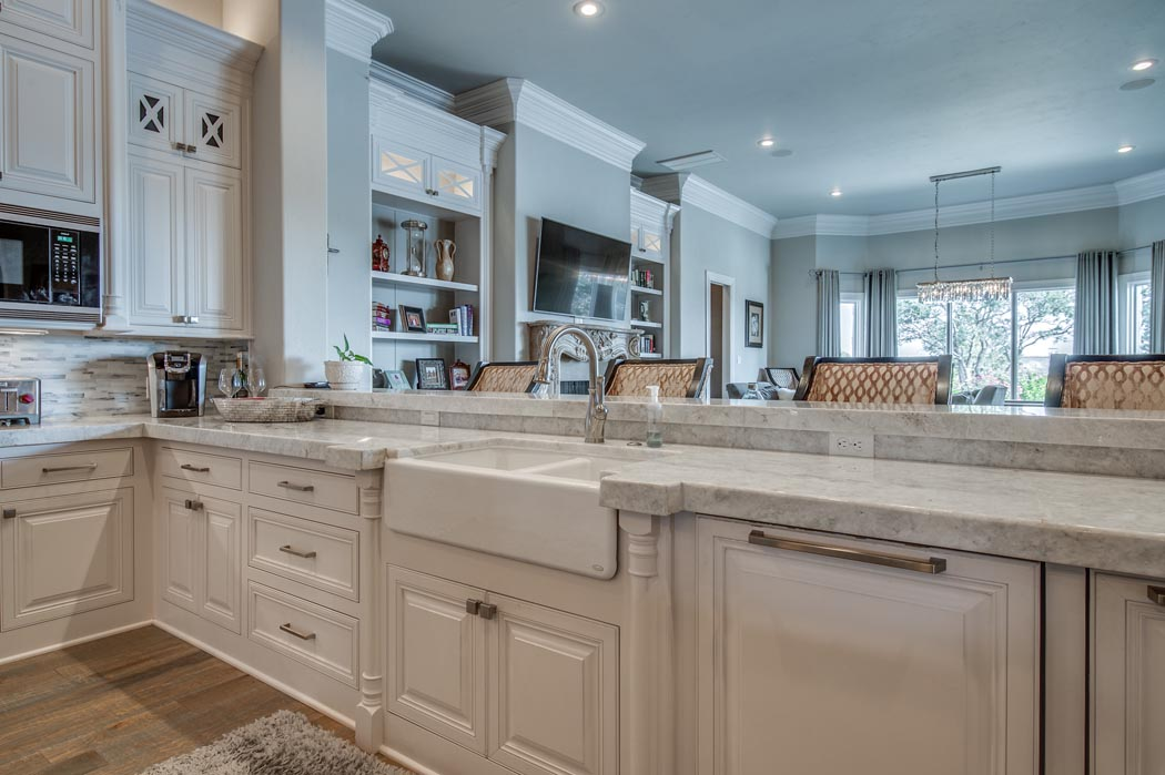 Detail of kitchen sink area in custom home in Lubbock.