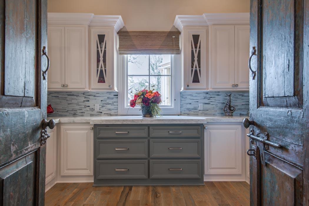 Butler's pantry in custom home near Lubbock, Texas.