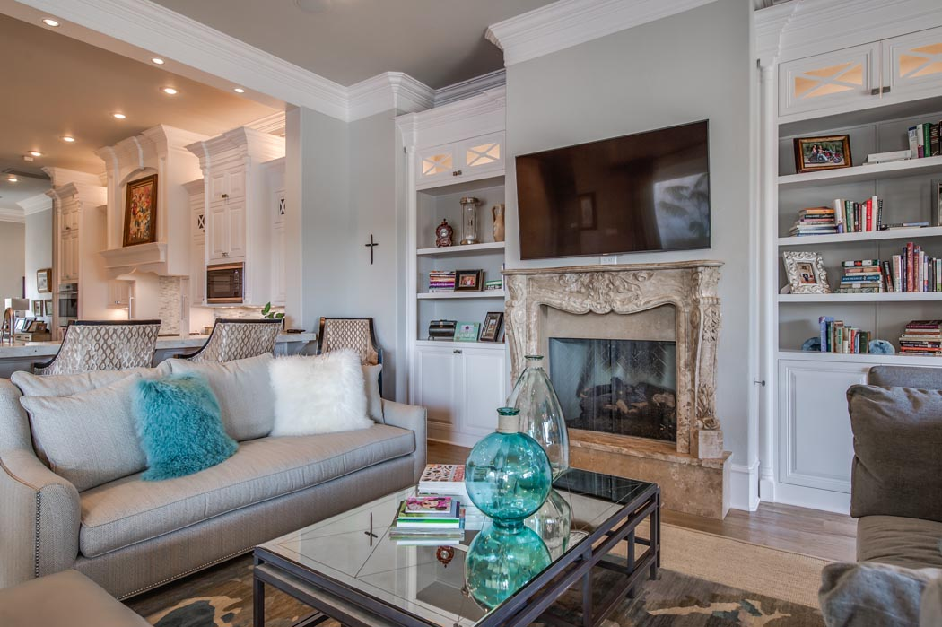 View of comfortable, spacious living area in custom home.
