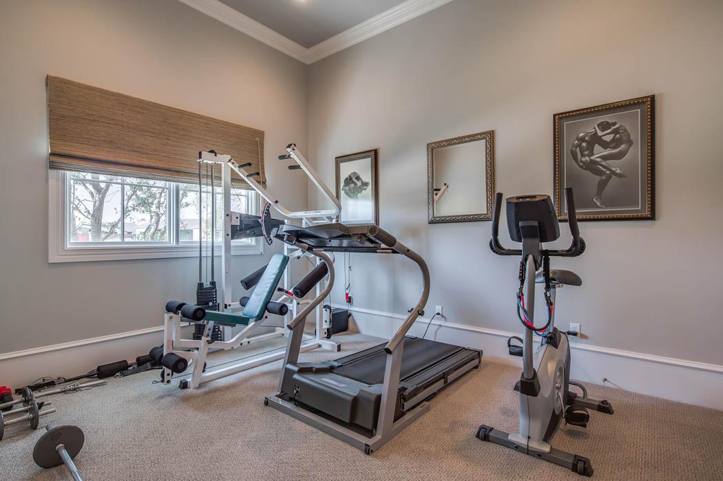 Great exercise room in custom home in Lubbock, Texas.