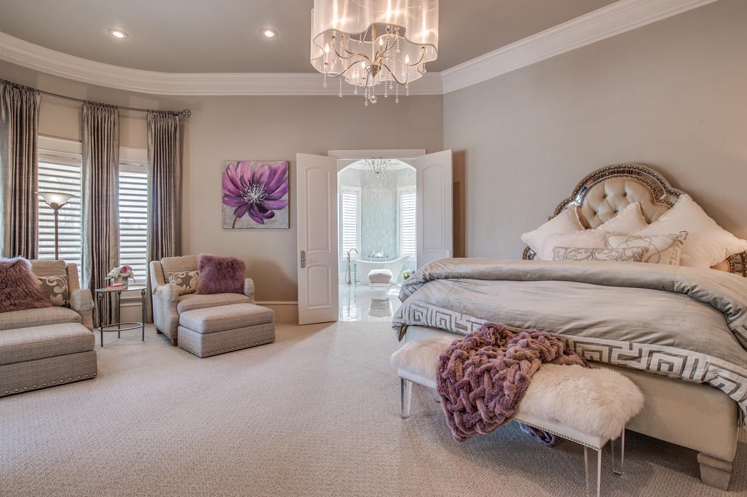Beautiful master bedroom in home built in Lubbock by Sharkey Custom Homes.