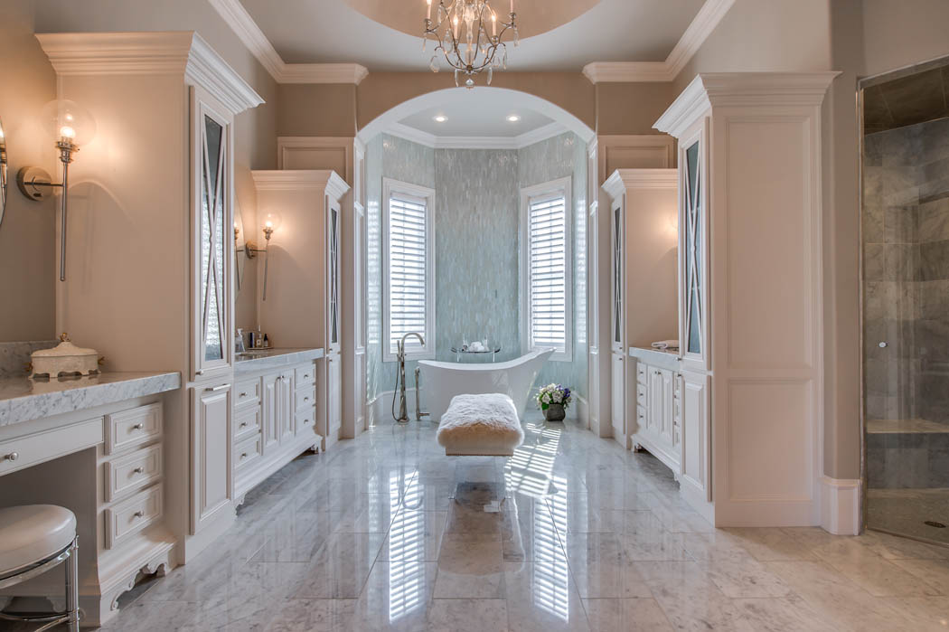 Lovely bath in West Texas home by Sharkey Custom Homes.