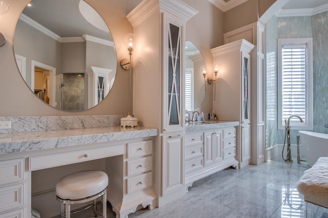 Beautiful vanity area in amazing bath, in Lubbock custom home.