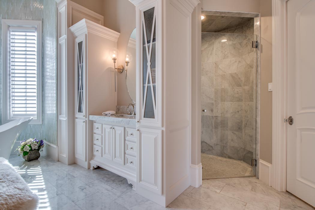 Beautiful, spacious shower in custom home's master bath.