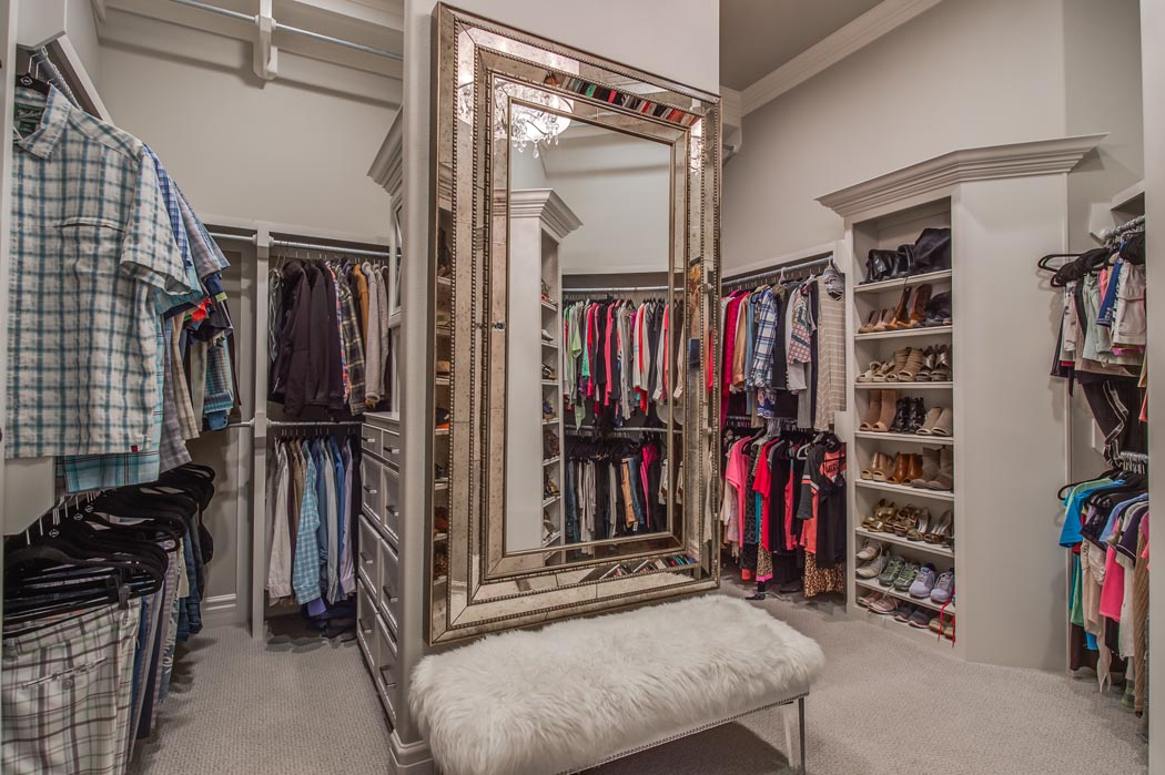 Amazing, spacious master closet in custom home in Lubbock.