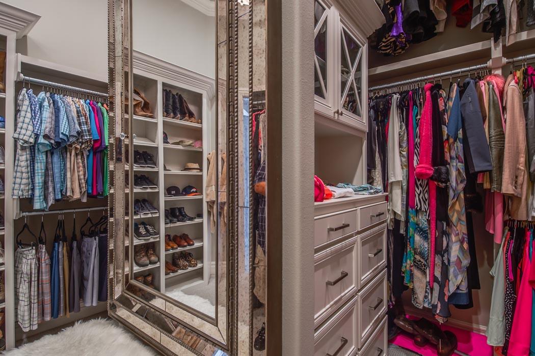 Master closet of master bedroom in beautiful custom Lubbock.